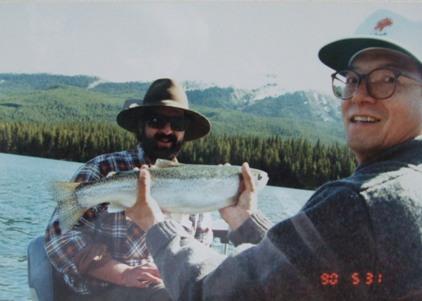 釣り上げた鱒